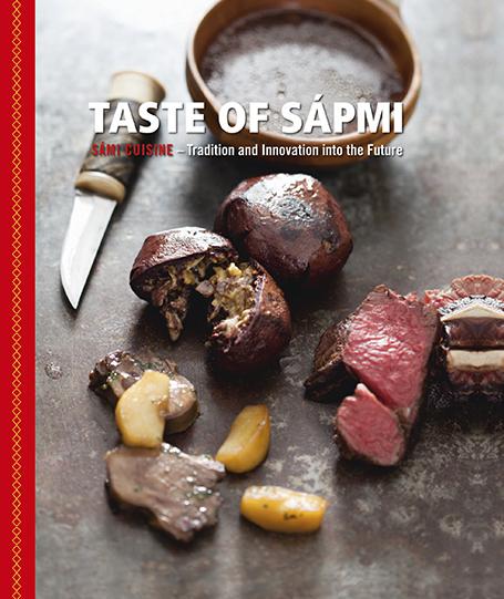 Bilden visar omslaget till boken Smak på Sápmi (engelsk utgåva).